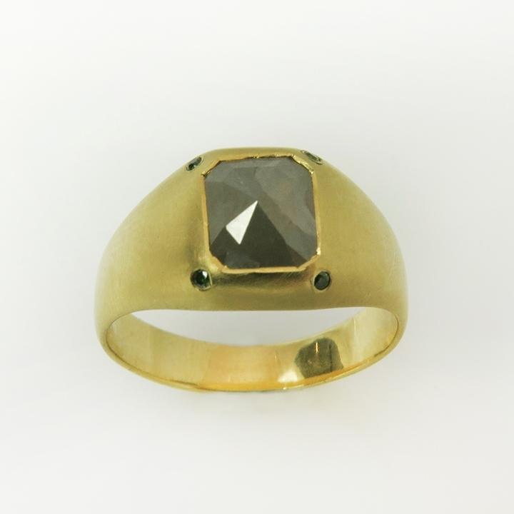 טבעת חותם עם יהלום בחיתוך Rose