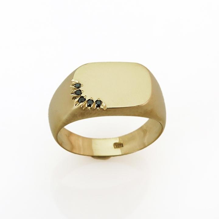 טבעת חותם מלבנית עם שיבוץ ייחודי