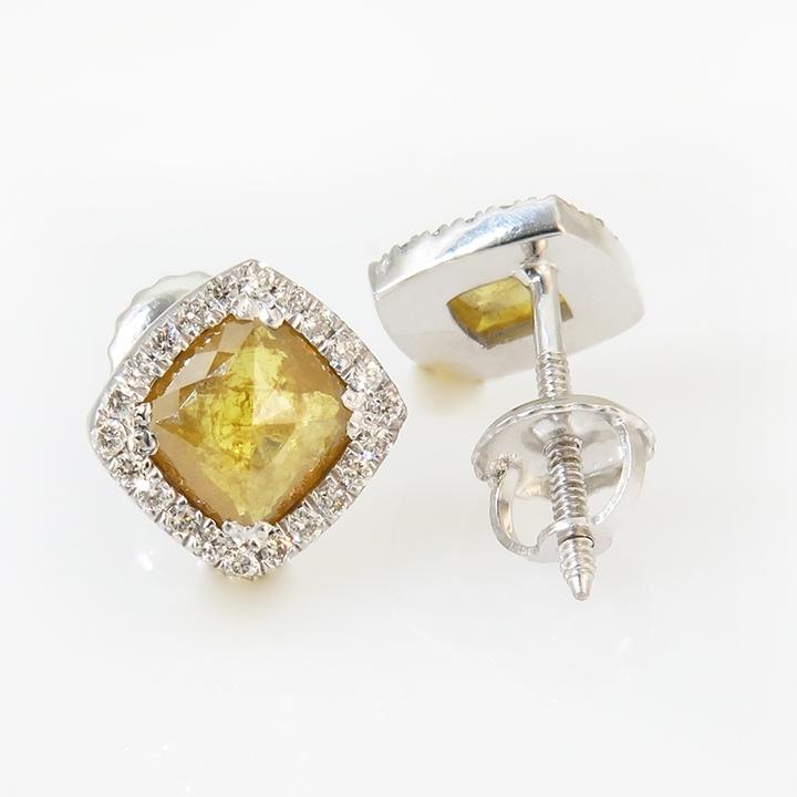 עגילי יהלום צהוב בחיתוך Rose מוקף יהלומים