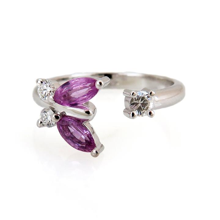 טבעת פרפר זהב לבן ויהלומים