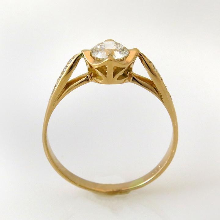טבעת אירוסין בסגנון וינטאג' זהב אדום ויהלום