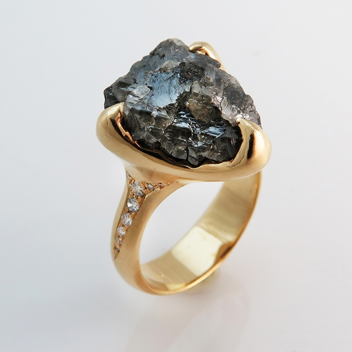 טבעת יהלום גולמי 10 קראט
