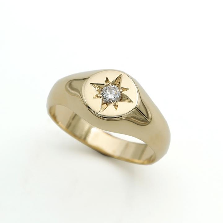 טבעת חותם בשיבוץ יהלום