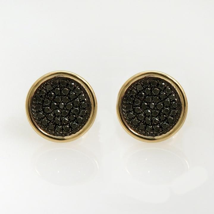 עגילי זהב עגולים עם יהלומים שחורים