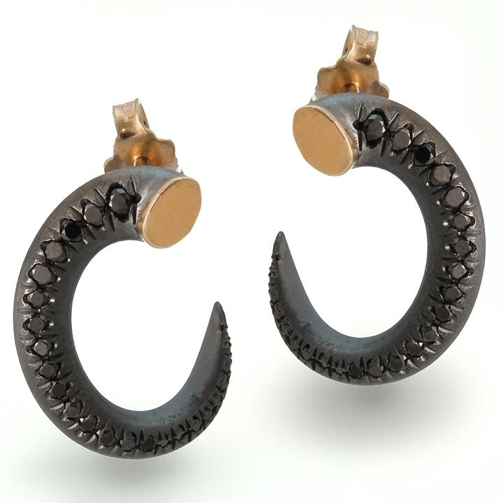 עגיל פראי יהלום שחורים