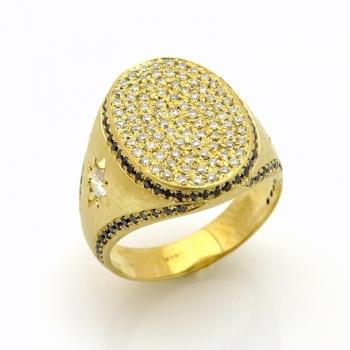 טבעת חותם מעוטרת עם יהלומים