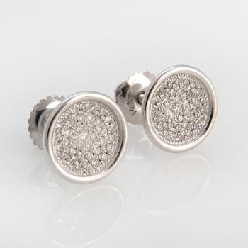 עגילי זהב לבן עגולים עם יהלומים בשיבוץ פאבה