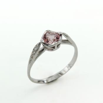 טבעת זהב לבן משובצת אבן מורגנייט ויהלומים