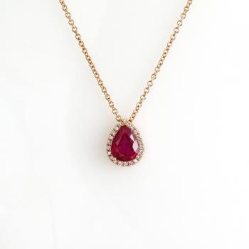 שרשרת זהב אדום משובצת רובי טיפה ויהלומים